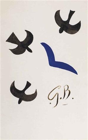 trois oiseaux noirs et un bleu by georges braque