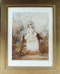 a young lady seated on a stile by edward henry corbould