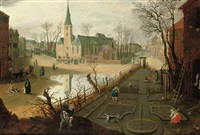 the month of february; a village with peasants working the land and figures outside a church by abel grimmer