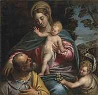 the holy family with the infant saint john the baptist, in a mountainous landscape by benedetto caliari