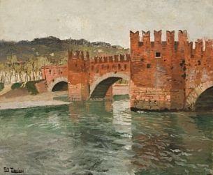 gammel bro i verona by frits thaulow