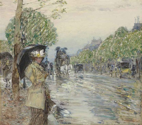 rainy day on the avenue by childe hassam