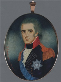 richard colley wellesley, 1st marquess wellesley, wearing blue uniform with red collar, silver lace, gold epaulettes, breast star and blue sash by t. vadachellum
