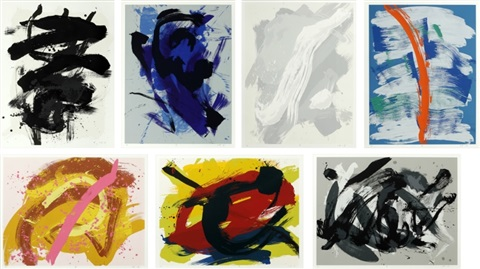rai kei hun hu un han shun set of 7 by kazuo shiraga