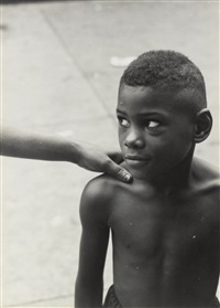 kids god bless (from belafonte, new york 19) (boy with woman's hand on shoulder) by roy decarava