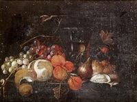 a still life of grapes, a peeled lemon and apricots on a silver dish, a roemer of white wine, figs, oysters, blackberries and a bread roll with a snail on a stone ledge by jan pauwel gillemans the elder