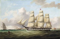 the emigrant ship carnatic of boston, in two positions, off the perch rock fort at the entrance to the harbour of liverpool by duncan mcfarlane