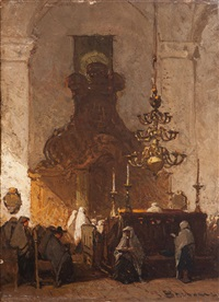interior of the p.i. synagoge in the hague by johannes bosboom