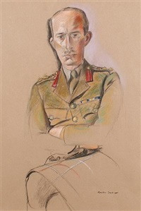 portrait of a staff colonel of a highland regiment by wyndham lewis
