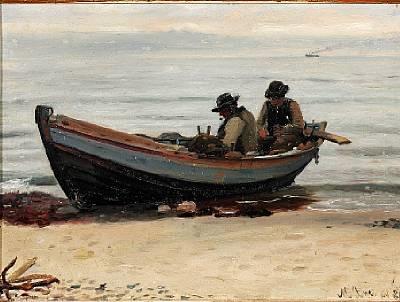 to fiskere der bøder garn i deres båd på stranden by michael peter ancher