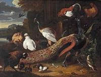 a peaken, hens, chicks and a rooster in a park landscape by melchior de hondecoeter