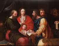 les quatre évangélistes jean, luc, matthieu et marc et leurs attributs by vincent sellaer