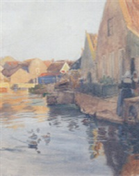 a dutch town on a canal by ferdinand kruis