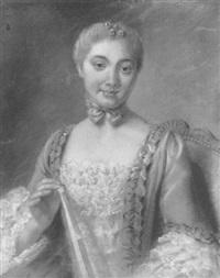 portrait de jeune femme en robe bleue tenant un éventail by pierre allais