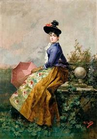 dama con sombrilla rosa by manuel picolo y lopez