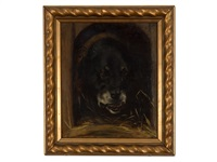 oil painting of a rottweiler by wilhelm maria hubertus leibl