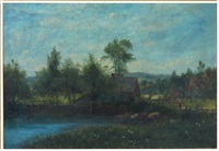 landscape, rustic log house on pond, with farmer by george frank higgins