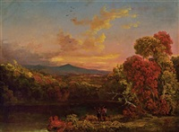 landscape with two figures at sunset by thomas cole