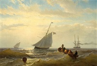 two fishing boats, a steamboat and men in a flat-boat on open sea by jacob willem gruyter