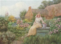 young lady seated in a cottage garden by william f. ashburner
