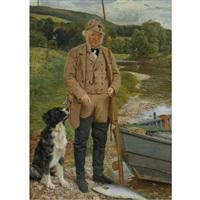robert kerss, gamekeeper and fisherman at mounteviot by james archer
