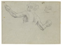 a study for a female allegorical figure and a separate study for her head (+ a study for the same figure, verso) by anton domenico gabbiani