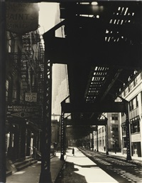 el 2nd and 3rd ave lines: looking w. from 250 pearl st., manhattan by berenice abbott