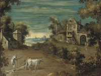 an extensive landscape with a farmer and his oxen ploughing a field by nicolo dell' abbate