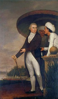 portrait of edmund pytts middleton esq. accompanied by servants, in an indian landscape by robert home