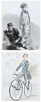 maurice chevalier, ma pomme c'est moi et en vélocipède (2 works) by james rassiat