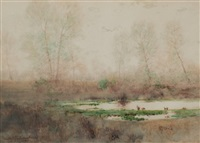 grey day, early spring by charles partridge adams