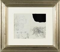 étude de cheval avec fleurs et oiseau (study) (double-sided) by rené magritte