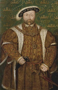 portrait of king henry viii (1491-1547), three-quarter-length, in an ermine-trimmed coat and jewel-encrusted feathered cap by hans holbein the younger