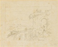 sketch for the arch of nero by thomas cole