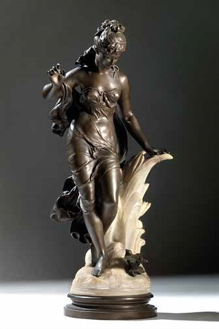 figura femminile con uccellino by auguste louis mathurin moreau
