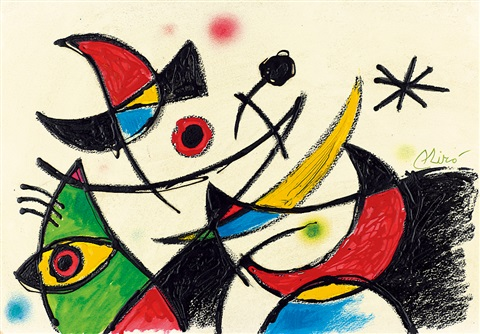 夜晚的鳥和星星 birds and stars at night by joan miró