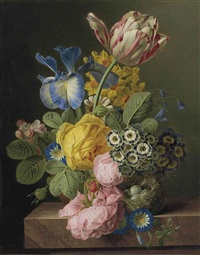 a vase of flowers with a bird's nest on a marble ledge by jan frans van dael