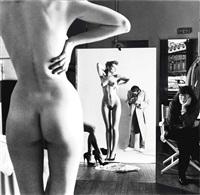 self-portrait with wife and models, vogue studios, paris by helmut newton