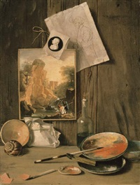 a trompe l'oeil still life of the artist's studio by antonio cioci