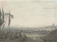rome from the villa mellini by john robert cozens