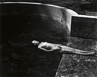 nude floating in pool by edward weston