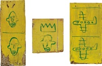 untitled (wooden triptych) by jean-michel basquiat