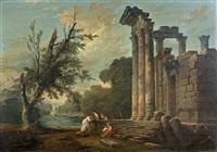 conversation au pied de ruines antiques près d'un plan d'eau by hubert robert