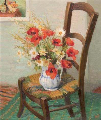 nature morte au bouquet de fleurs sur une chaise by marcel dyf