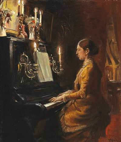 anna at the piano by michael peter ancher