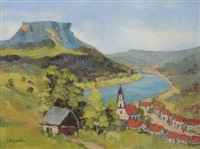 sächsische schweiz - blick zum lilienstein mit königsteiner kirche by erhard hippold