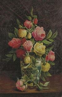 roses in a porcelain vase by henry j. livens