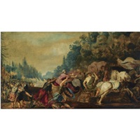 king ahab fatally wounded by an arrow in the battle against the syrians by gerrit claesz bleker