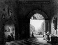 italiennes et religieux dans une église by charles rauch