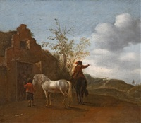horsemen in front of a stable by pieter wouwerman